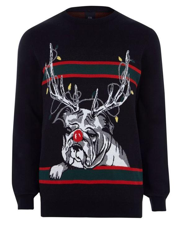 Зимние новогодние свитера с принтами 2018 - черный с собакой и рогами оленя