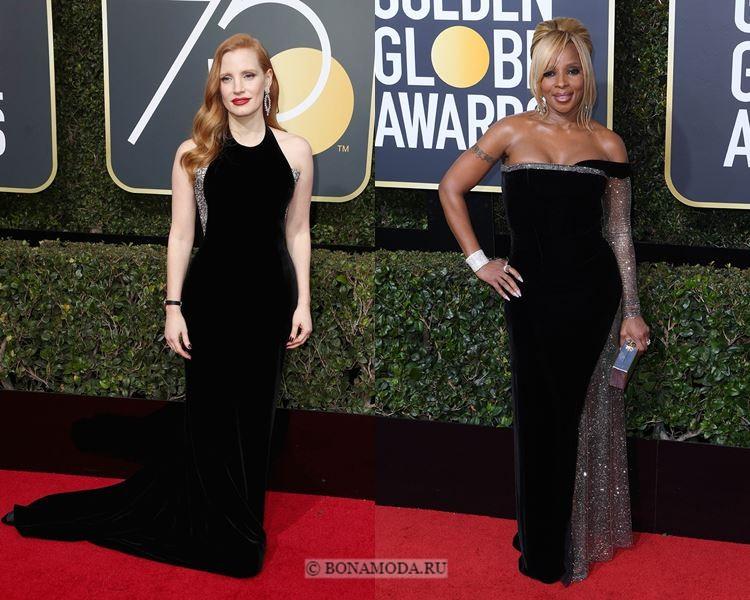 Чёрные вечерние платья-2018 «Золотой глобус»: бархатные с серебристыми пайетками