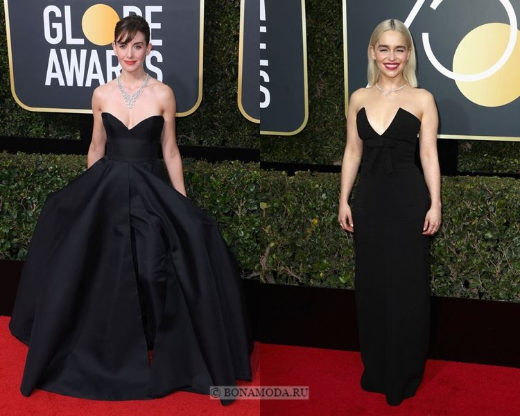 Чёрные вечерние платья-2018 «Золотой глобус»: бюстье «сердечком»