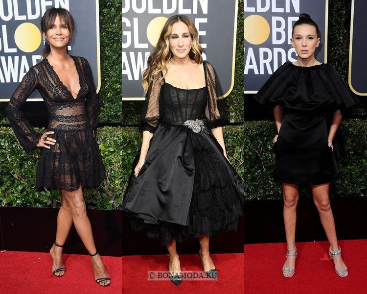 Чёрные вечерние платья-2018 «Золотой глобус»: короткие вечерне-коктейльные