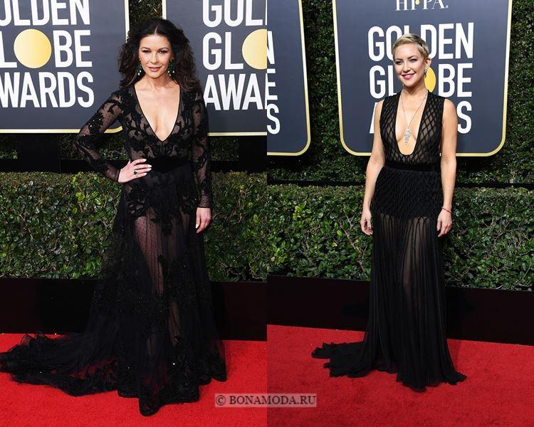 Чёрные вечерние платья-2018 «Золотой глобус»: с V-образным вырезом и прозрачной юбкой