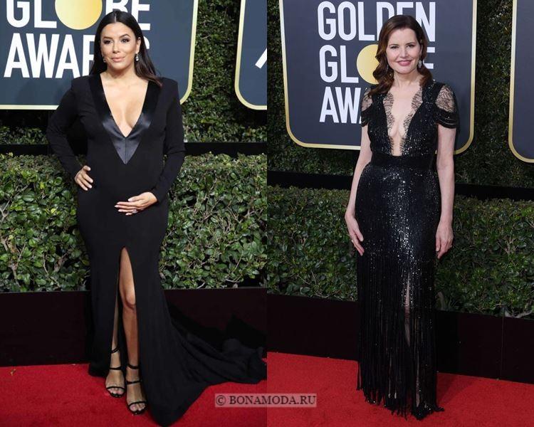 Чёрные вечерние платья-2018 «Золотой глобус»: с глубоким V-образным вырезом