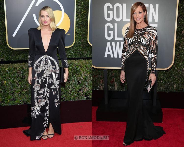 Чёрные вечерние платья-2018 «Золотой глобус»: с контрастным декором