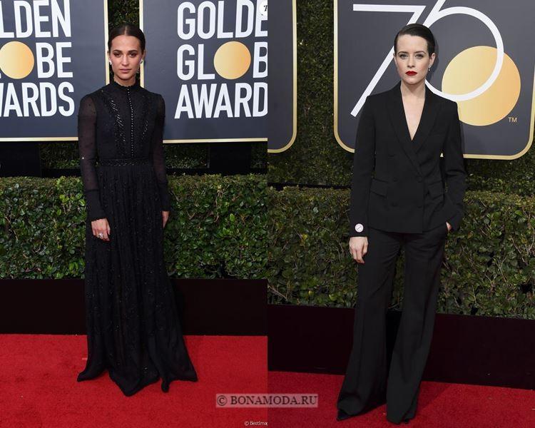 Чёрные вечерние платья-2018 «Золотой глобус»: викторианское платье и строгий брючный костюм