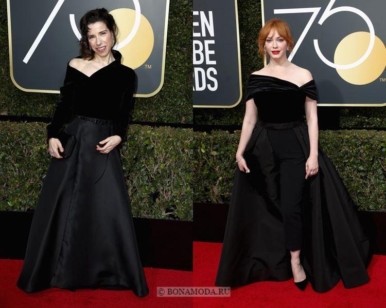 Чёрные вечерние платья-2018 «Золотой глобус»: приталенные платья А-силуэта с асимметричным бархатным верхом