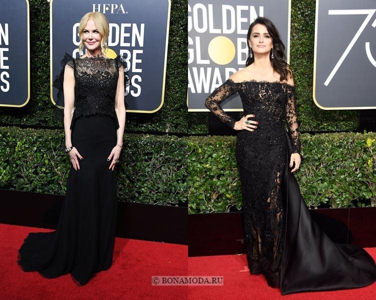 Чёрные вечерние платья-2018 «Золотой глобус»: кружевные