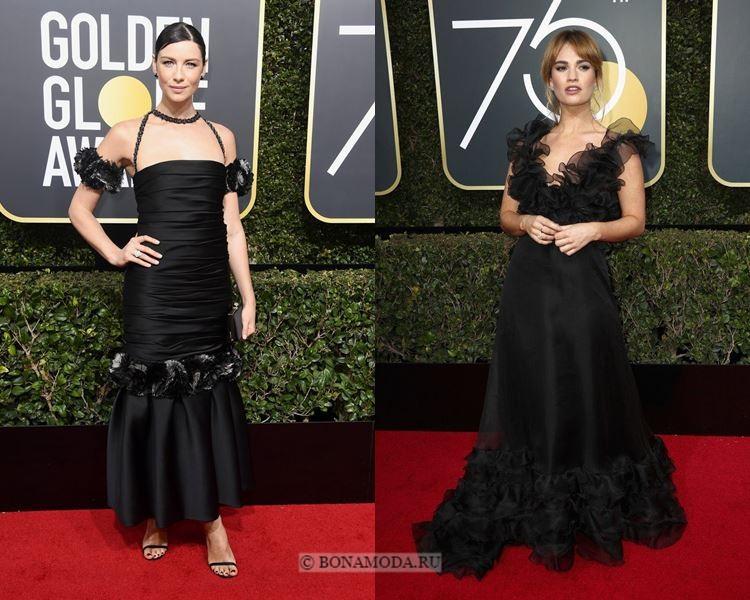 Чёрные вечерние платья-2018 «Золотой глобус»: с воланами и драпировками