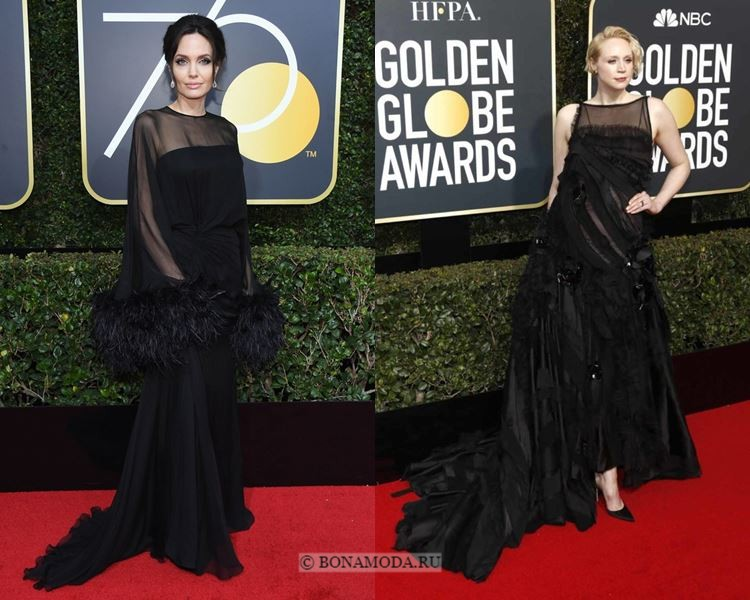 Чёрные вечерние платья-2018 «Золотой глобус»: с тюлем и объёмным декором (перья, цветы)