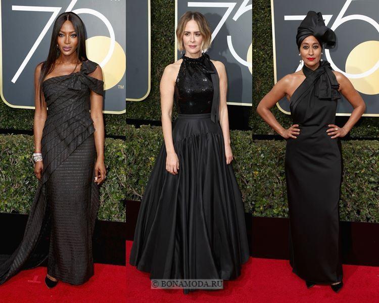 Чёрные вечерние платья-2018 «Золотой глобус»: с бантом