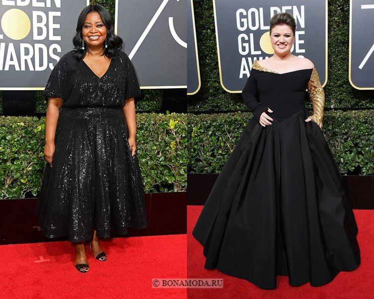 Чёрные вечерние платья-2018 «Золотой глобус»: плюс сайз большого размера для полных