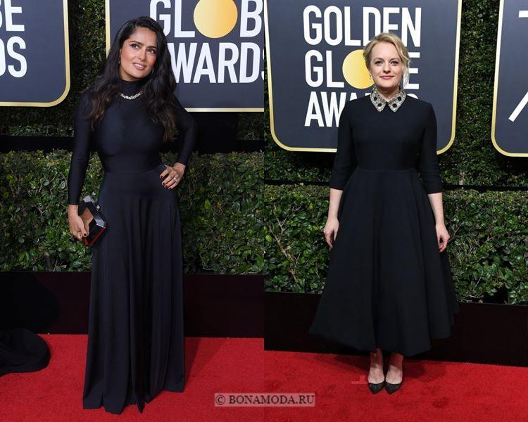 Чёрные вечерние платья-2018 «Золотой глобус»: минималистичные с длинным рукавом