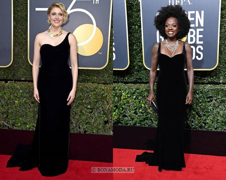 Чёрные вечерние платья-2018 «Золотой глобус»: длинные бархатные