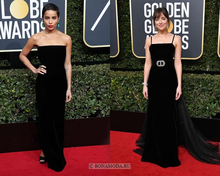 Чёрные вечерние платья-2018 «Золотой глобус»: бархатные в пол