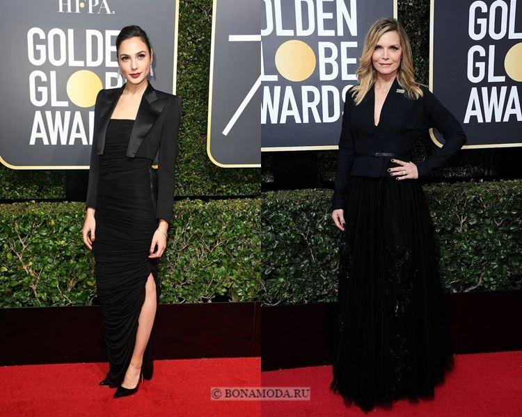 Чёрные вечерние платья-2018 «Золотой глобус»: с жакетами