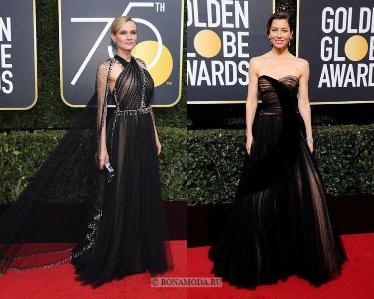 Чёрные вечерние платья-2018 «Золотой глобус»: из чёрного тюля с плиссировкой