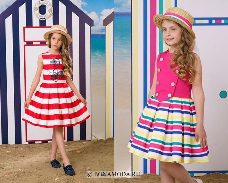 Детская мода для девочек весна-лето 2018 - Летние платья в полоску