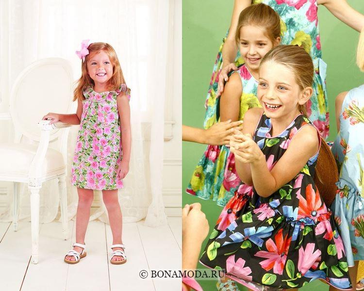 Детская мода для девочек весна-лето 2018 - Нарядные платья с цветочным принтом