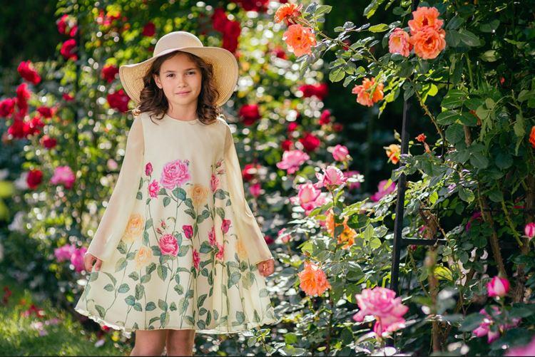 Детская мода для девочек весна-лето 2018 - цветочное платье с длинными рукавами