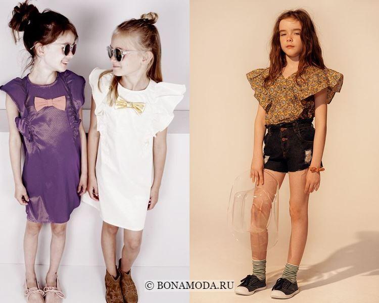 Детская мода для девочек весна-лето 2018 - модные платья и блузки с рукавом-бабочка