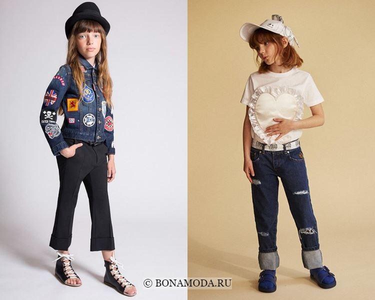 Детская мода для девочек весна-лето 2018 - джинсовая куртка и джинсы