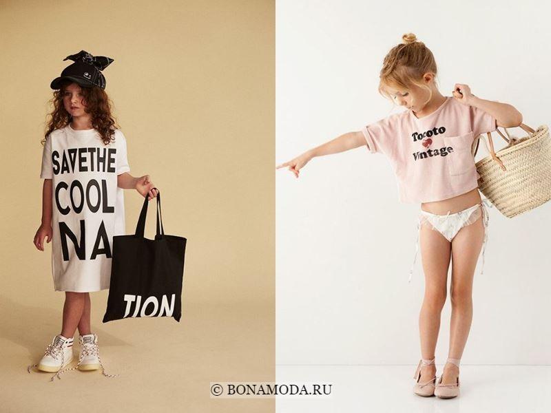 Детская мода для девочек весна-лето 2018 - Стильные платья и топы с надписями