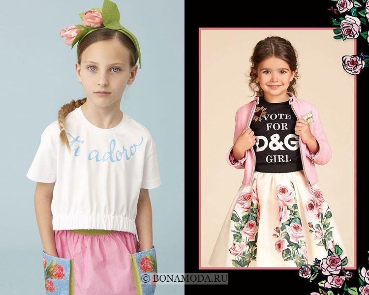 Детская мода для девочек весна-лето 2018 - модные топы с надписями