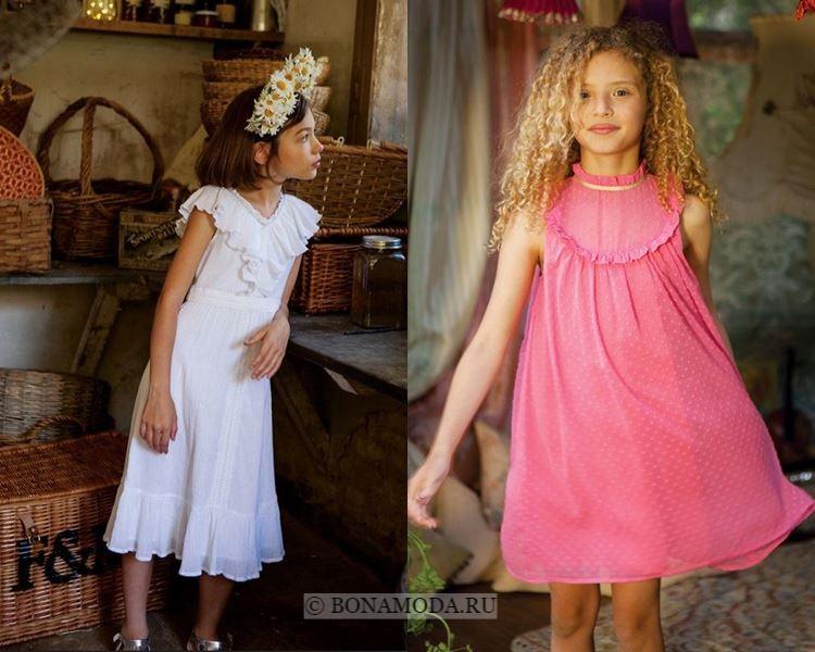 Детская мода для девочек весна-лето 2018 - белые и розовые платья с воланами