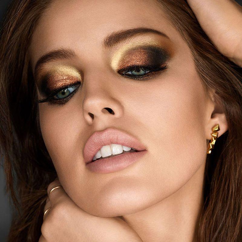 Эмили ДиДонато для Maybelline 2018 - перламутровые коричневые и золотистые тени - идеальный макияж для серо-голубых глаз