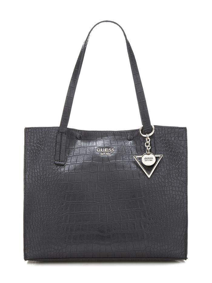 Коллекция сумок Guess весна-лето 2018 - чёрная сумка шоппер с крокодиловым принтом