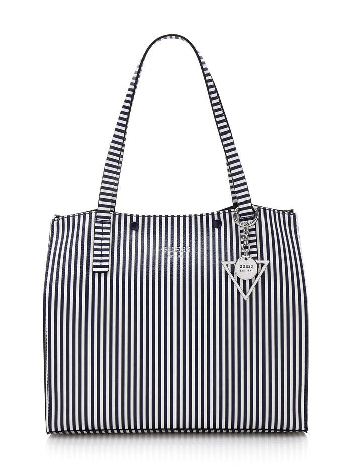 Коллекция сумок Guess весна-лето 2018 - сумка шоппер в тонкую чёрно-белую вертикальную полоску