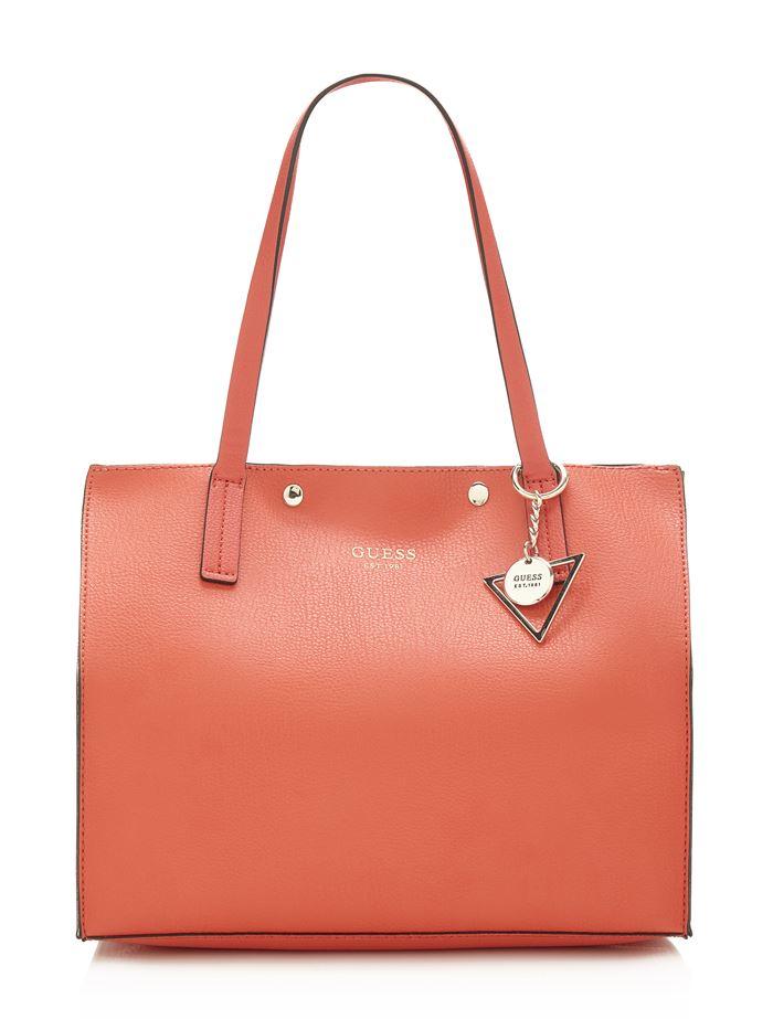 Коллекция сумок Guess весна-лето 2018 - оранжевая кожаная сумка шоппер