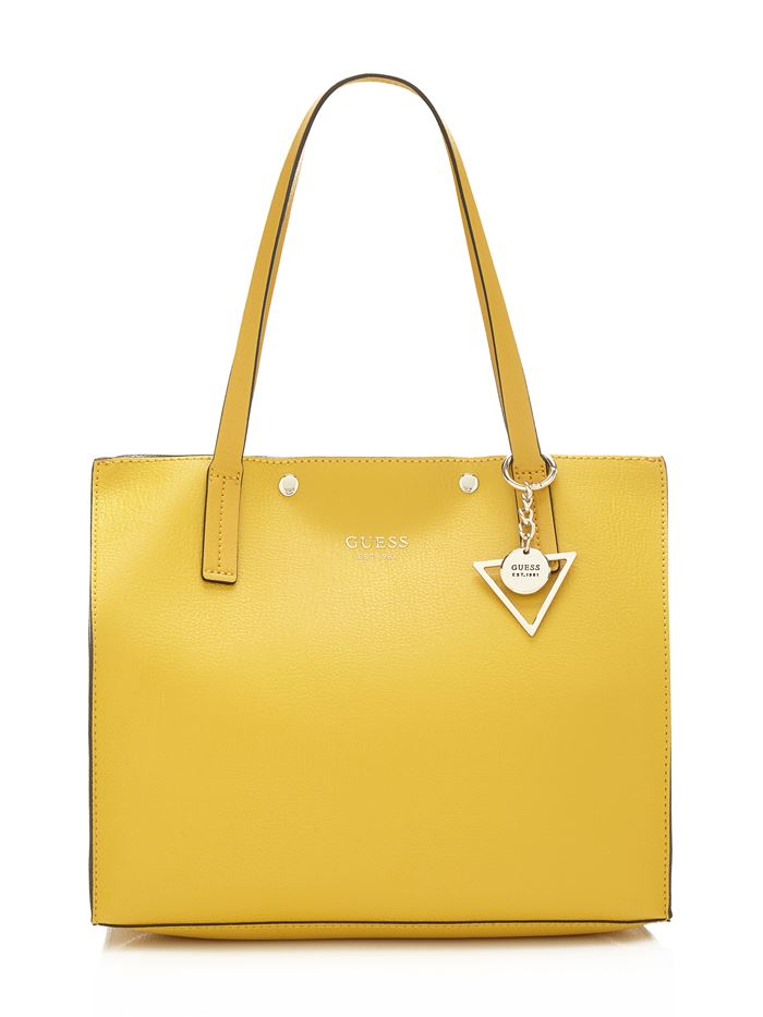 Коллекция сумок Guess весна-лето 2018 - ярко-жёлтая кожаная сумка шоппер