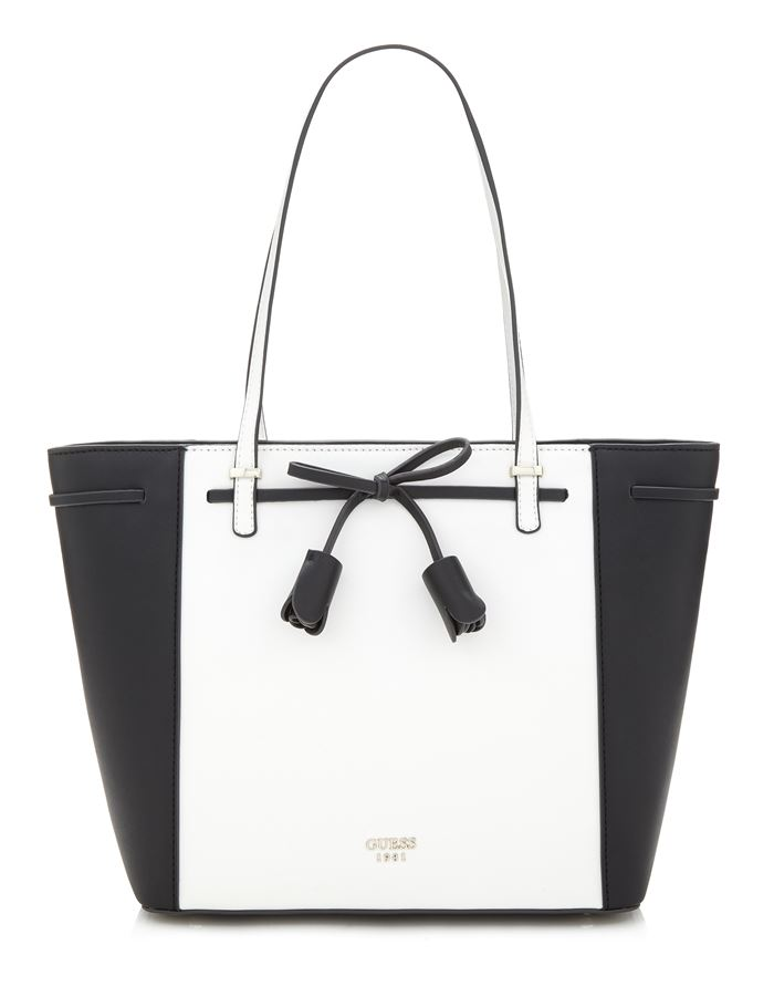 Коллекция сумок Guess весна-лето 2018 - чёрно-белая сумка шоппер с бантом