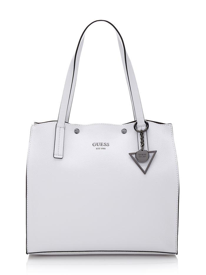 Коллекция сумок Guess весна-лето 2018 - белая кожаная сумка шоппер