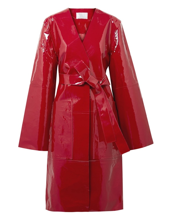 Красные пальто 2018 - пальто с запахом из лакированной кожи Solace London
