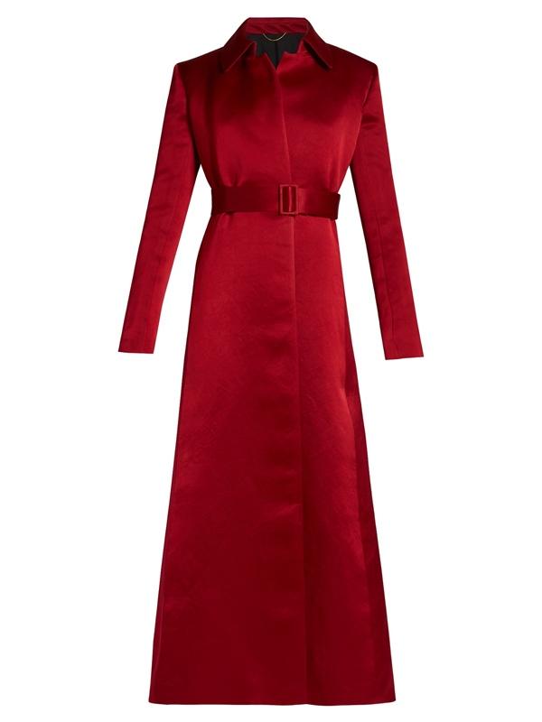 Красные пальто 2018 - Длинное приталенное атласное пальто с поясом The Row