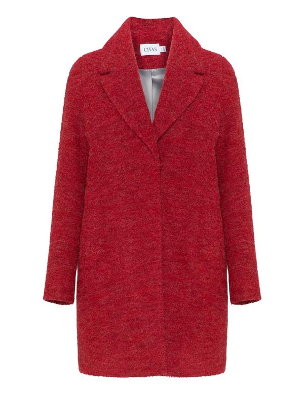 Красные пальто 2018 - Короткое шерстяное пальто-букле Civas