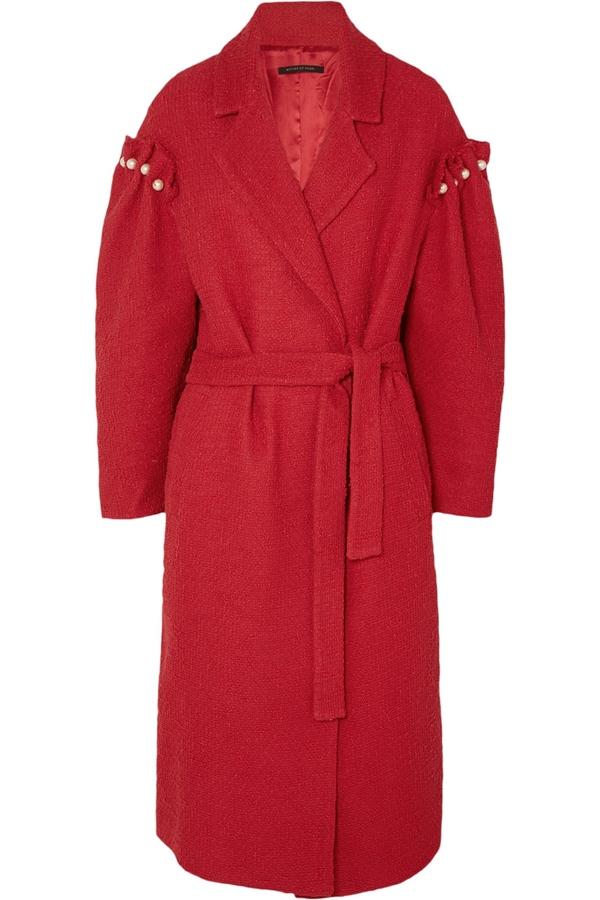Красные пальто 2018 - Твидовое пальто с запахом Mother of Pearl