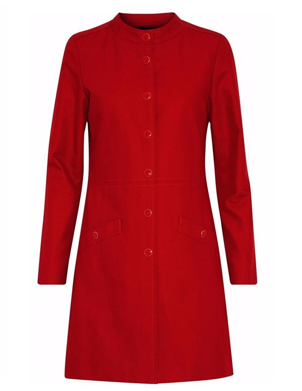 Красные пальто 2018 - Короткое приталенное пальто из габардина с круглым воротником Vanessa Seward
