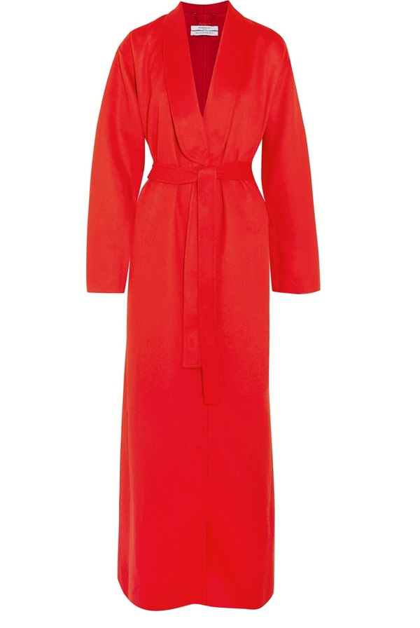Красные пальто 2018 - Длинное яркое пальто-халат Givenchy