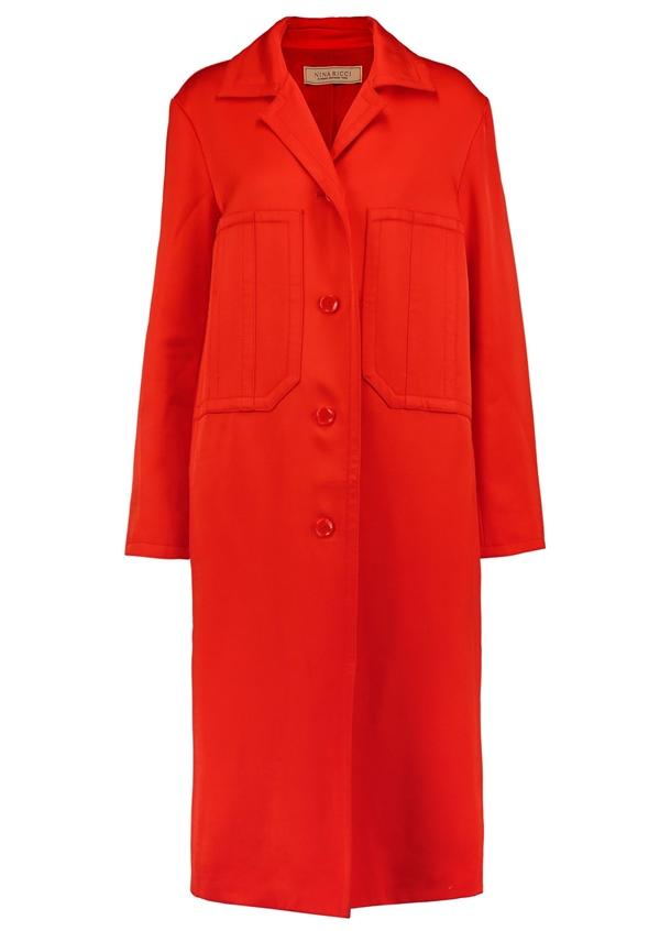 Красные пальто 2018 - Яркое однобортное пальто с карманами Nina Ricci