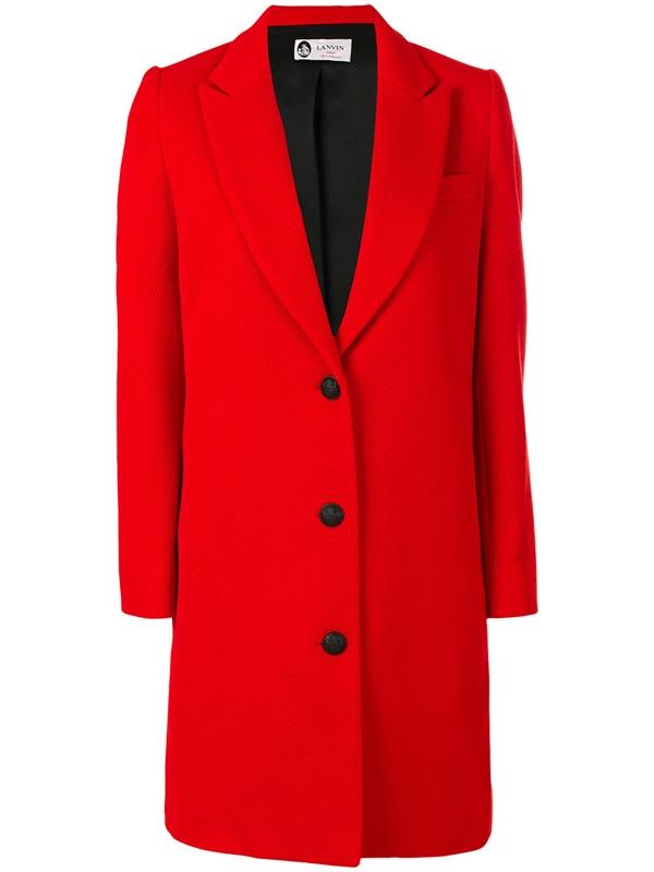 Красные пальто 2018 - Классическое однобортное пальто-жакет Lanvin