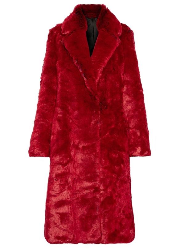 Красные пальто 2018 - Пальто из искусственного меха Calvin Klein