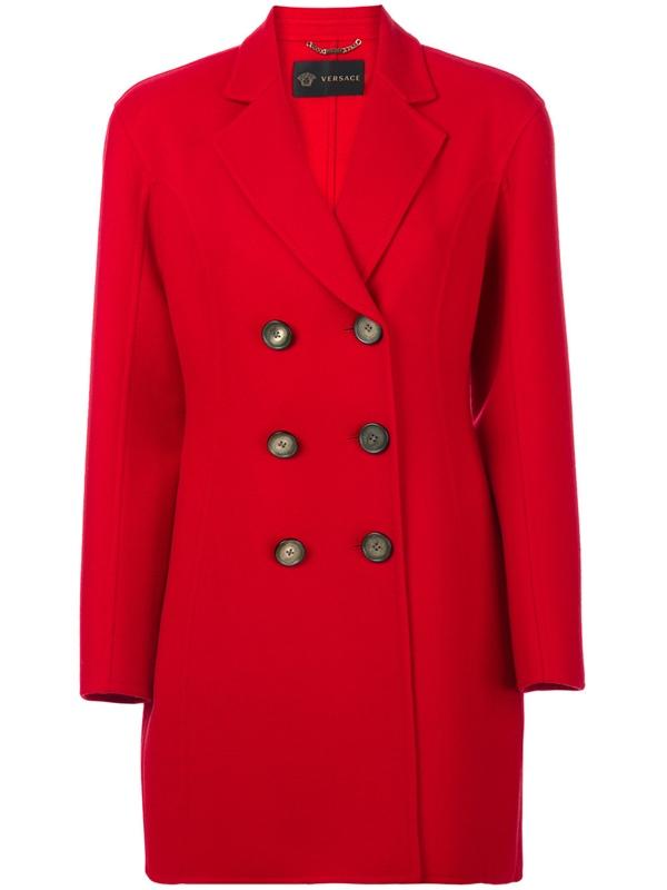 Красные пальто 2018 - Короткое классическое двубортное пальто Versace