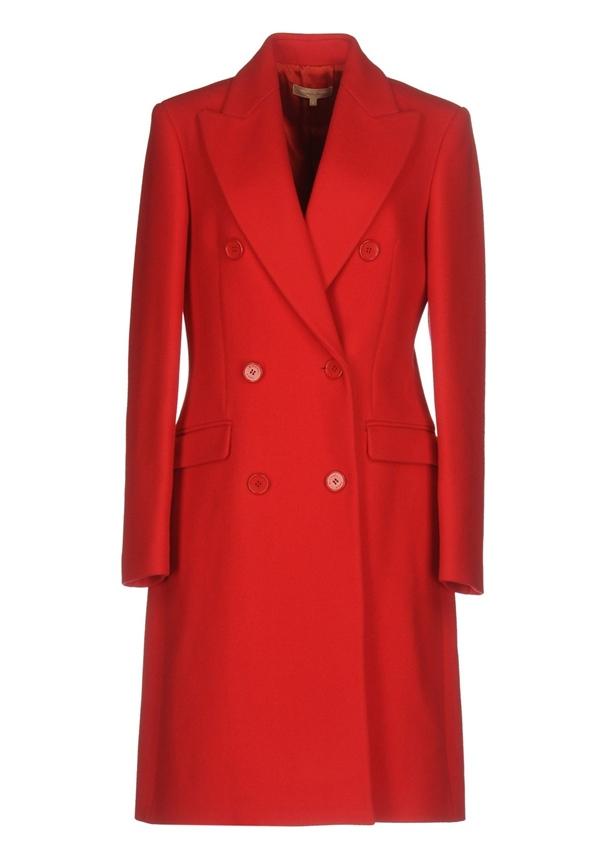 Красные пальто 2018 - Элегантное приталенное двубортное пальто Michael Kors