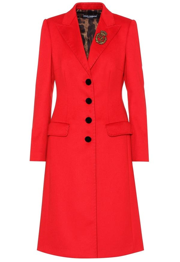 Красные пальто 2018 - Однобортное приталенное кашемировое пальто Dolce & Gabbana