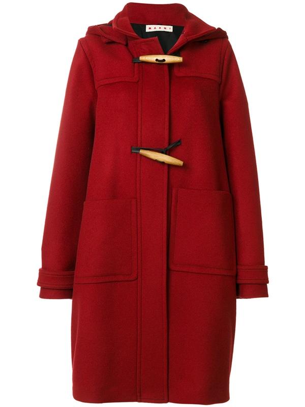 Красные пальто 2018 - Пальто-баллон даффлкот с прямоугольными деревянными пуговицами Marni