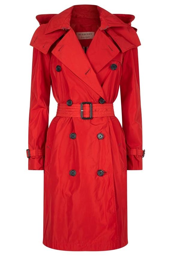 Красные пальто 2018 - Короткий двубортный тренч с капюшоном с поясом Burberry
