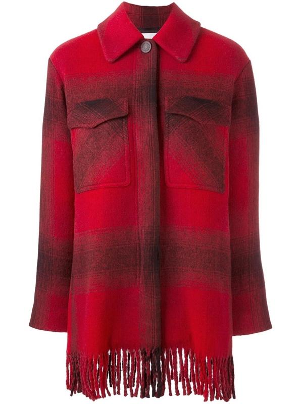 Красные пальто 2018 - клетчатое пальто-рубашка с бахромой и накладными карманами T by Alexander Wang