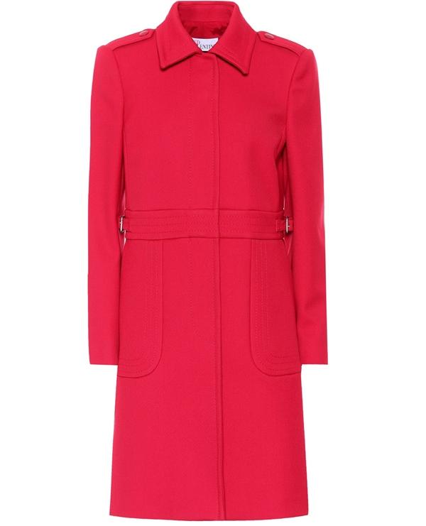 Красные пальто 2018 - Пальто из твилла в стиле милитари со скрытыми пуговицами Red Valentino